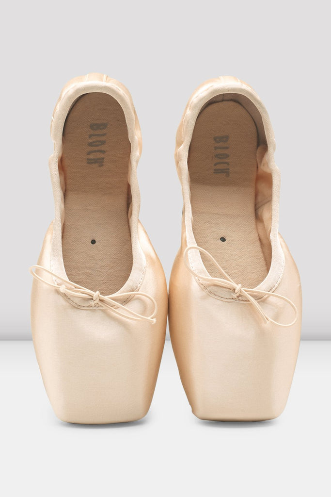 Pink Satin Bloch Superlative Stretch Pointe Shoes pair of shoes en point in parallel position