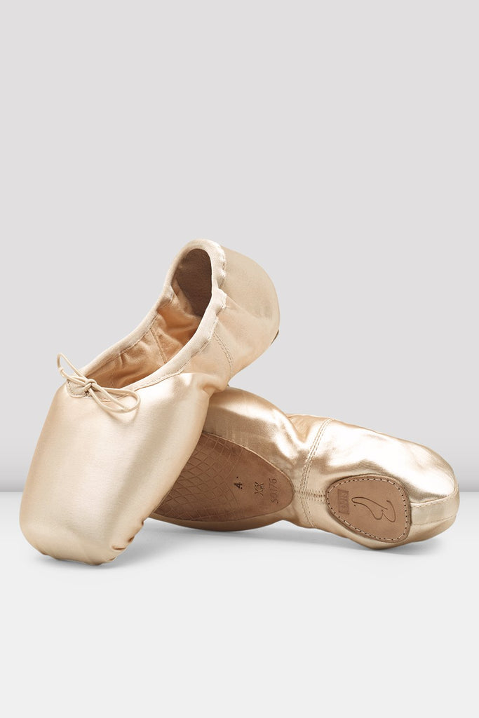 Pink Satin Bloch Superlative Stretch Pointe Shoes flatlay pair of shoes