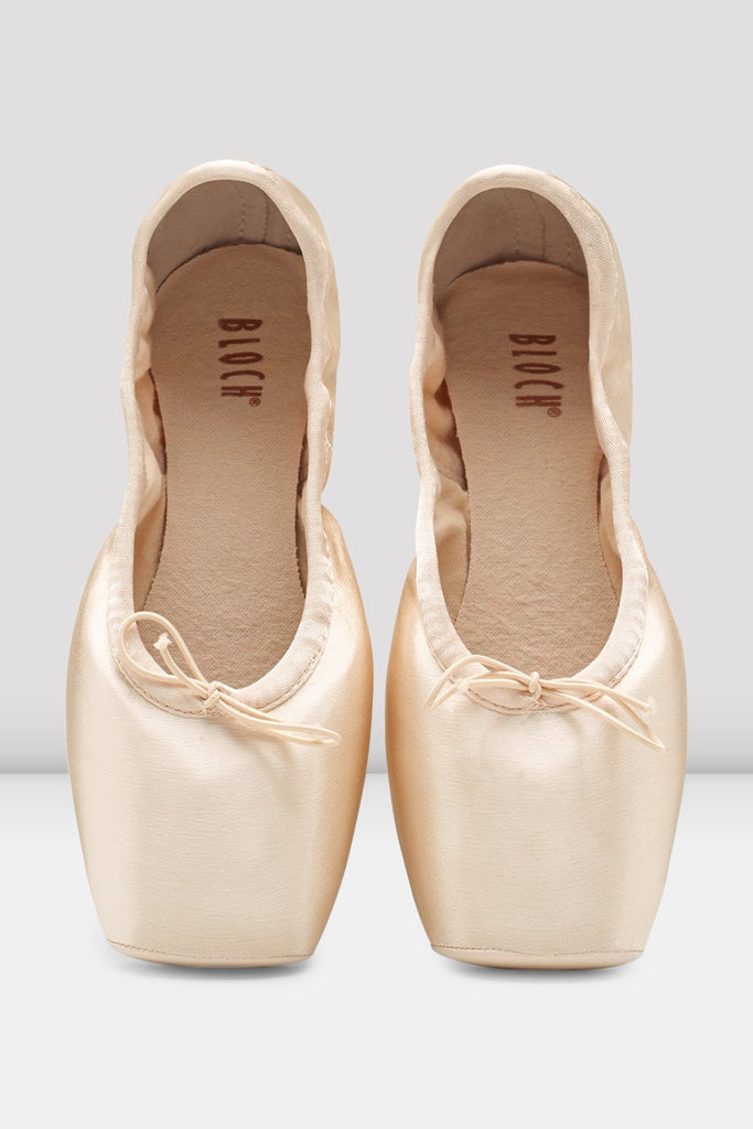 Pink Satin Bloch Axi Stretch Pointe Shoes pair of shoes en pointe in parallel position