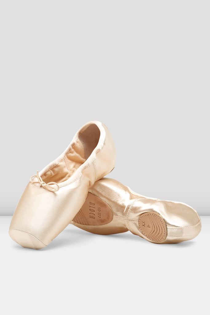 Pink Satin Bloch Axi Stretch Pointe Shoes flatlay pair of shoes