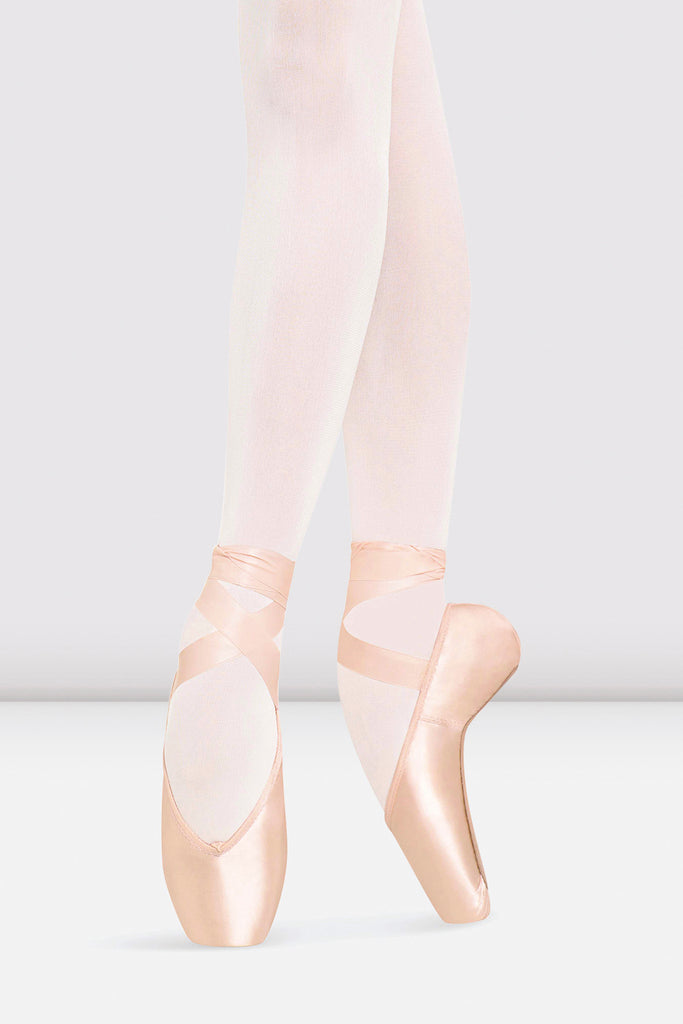 Pink Satin Bloch Heritage Long Length Pointe Shoes on foot in fourth position en pointe