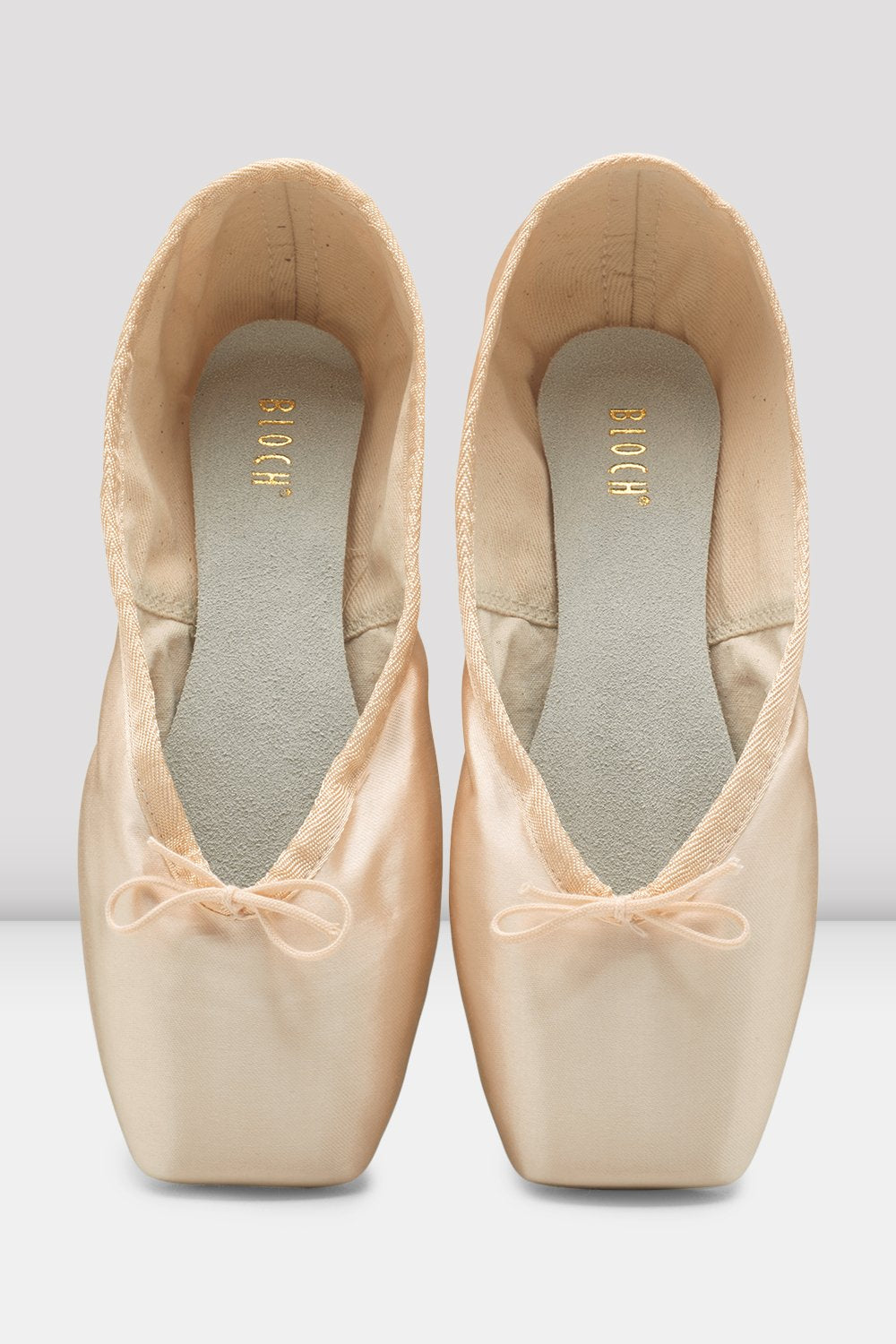 Pink Satin Bloch Heritage Pointe Shoes pair of shoes en pointe in parallel position