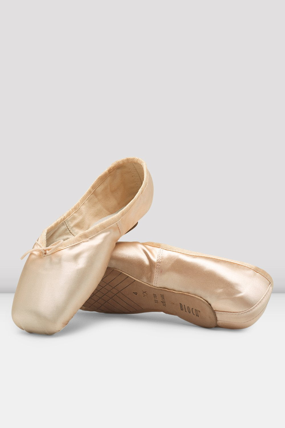 Pink Satin Bloch Heritage Pointe Shoes flatlay pair of shoes
