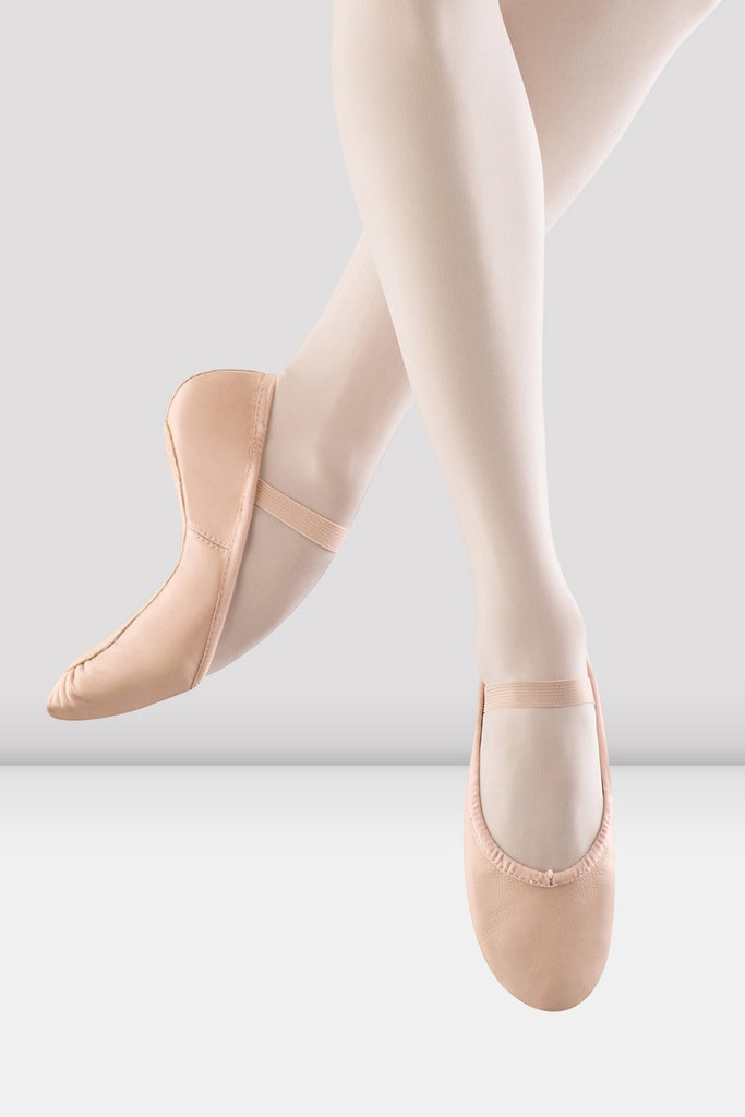 Pink Leather Bloch Girls Dansoft Leather Ballet Shoes pair of shoes on female foot jumping