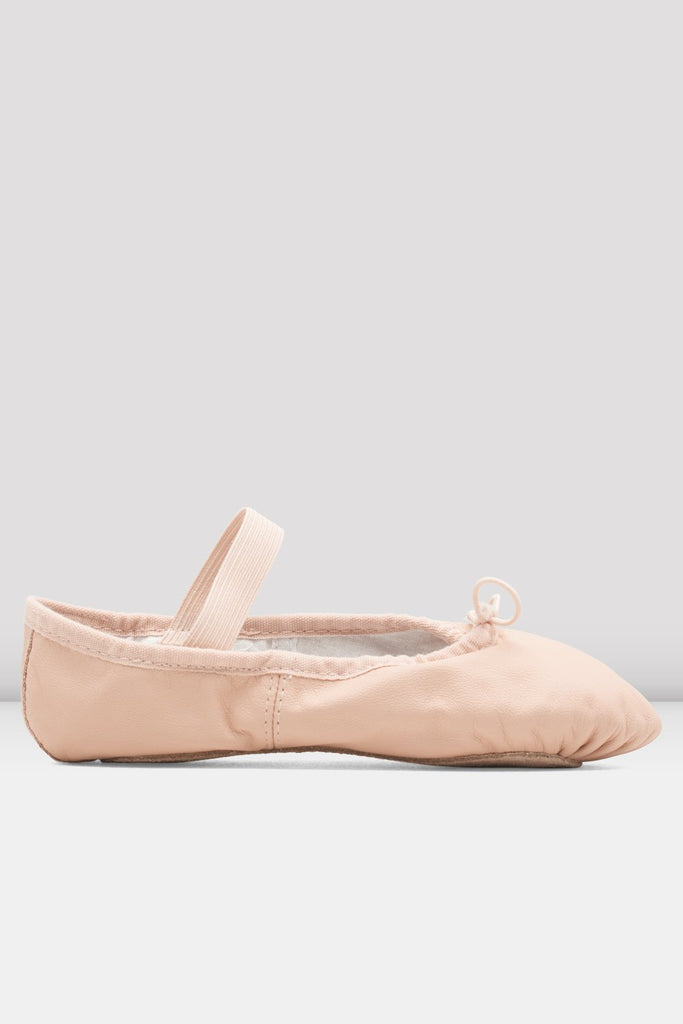 Pink Leather Bloch Girls Dansoft Leather Ballet Shoes single shoe side view