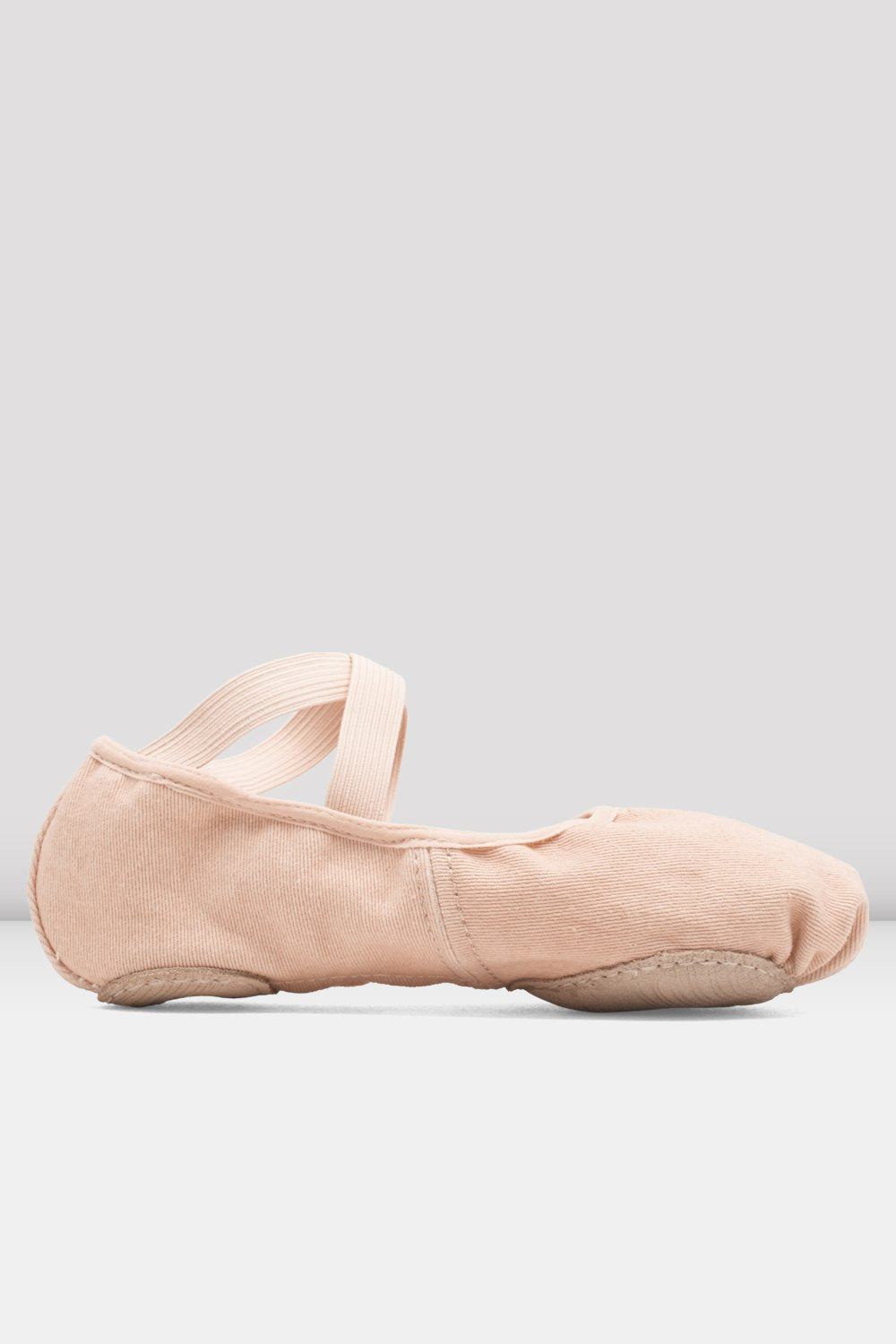 Pink canvas Bloch Ladies Infinity Stretch Canvas Ballet Shoes single shoe side view