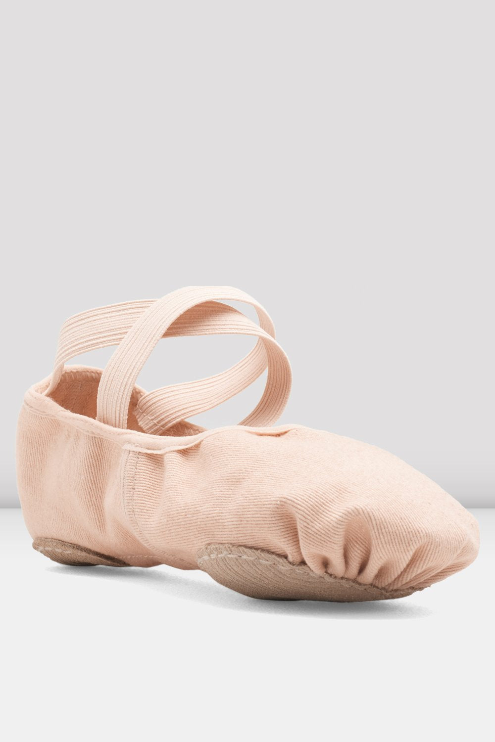 Pink canvas Bloch Ladies Infinity Stretch Canvas Ballet Shoes single shoe focus on toe of shoe