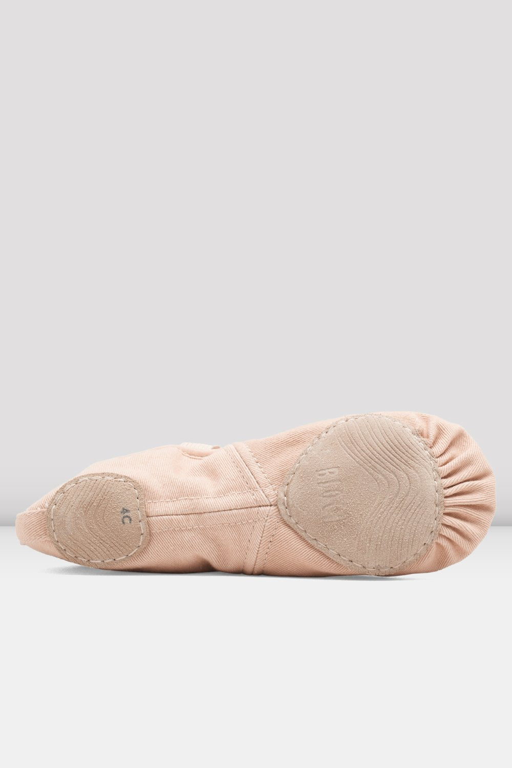 Pink canvas Bloch Ladies Infinity Stretch Canvas Ballet Shoes single shoes focus on the sole of shoe