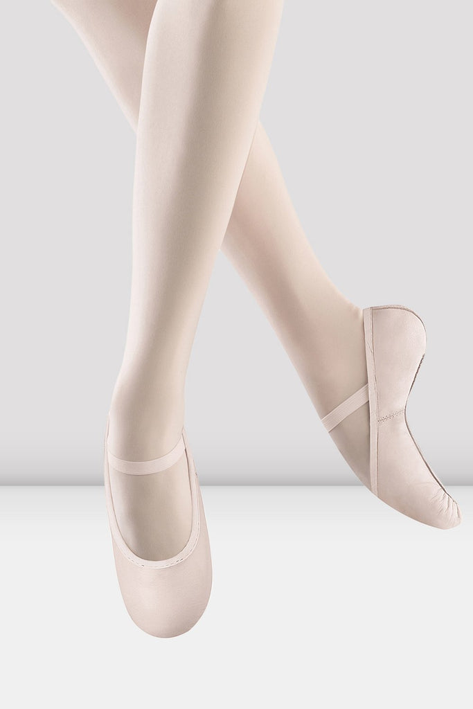 Theatrical pink leather Bloch Girls Belle Leather Ballet Shoes single shoes pair of shoes on female foot jumping
