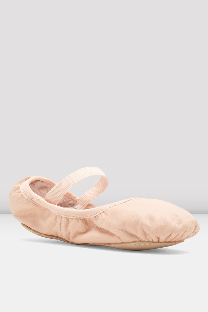 Theatrical pink leather Bloch Girls Belle Leather Ballet Shoes single shoes single shoe side view