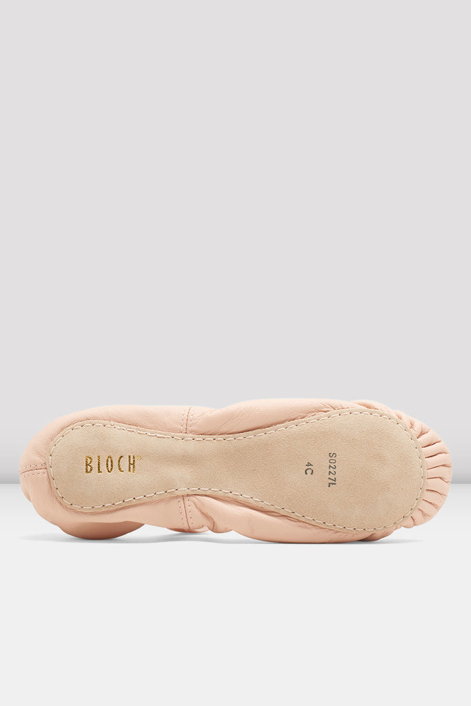 Theatrical pink leather Bloch Girls Belle Leather Ballet Shoes single shoes single shoes focus on sole of shoe