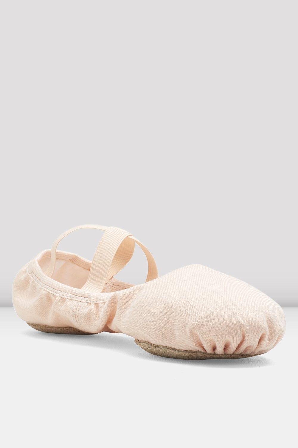 Theatrical pink canvas Bloch Ladies Performa Stretch Canvas Ballet Shoes single shoe side view focus on toe of shoe