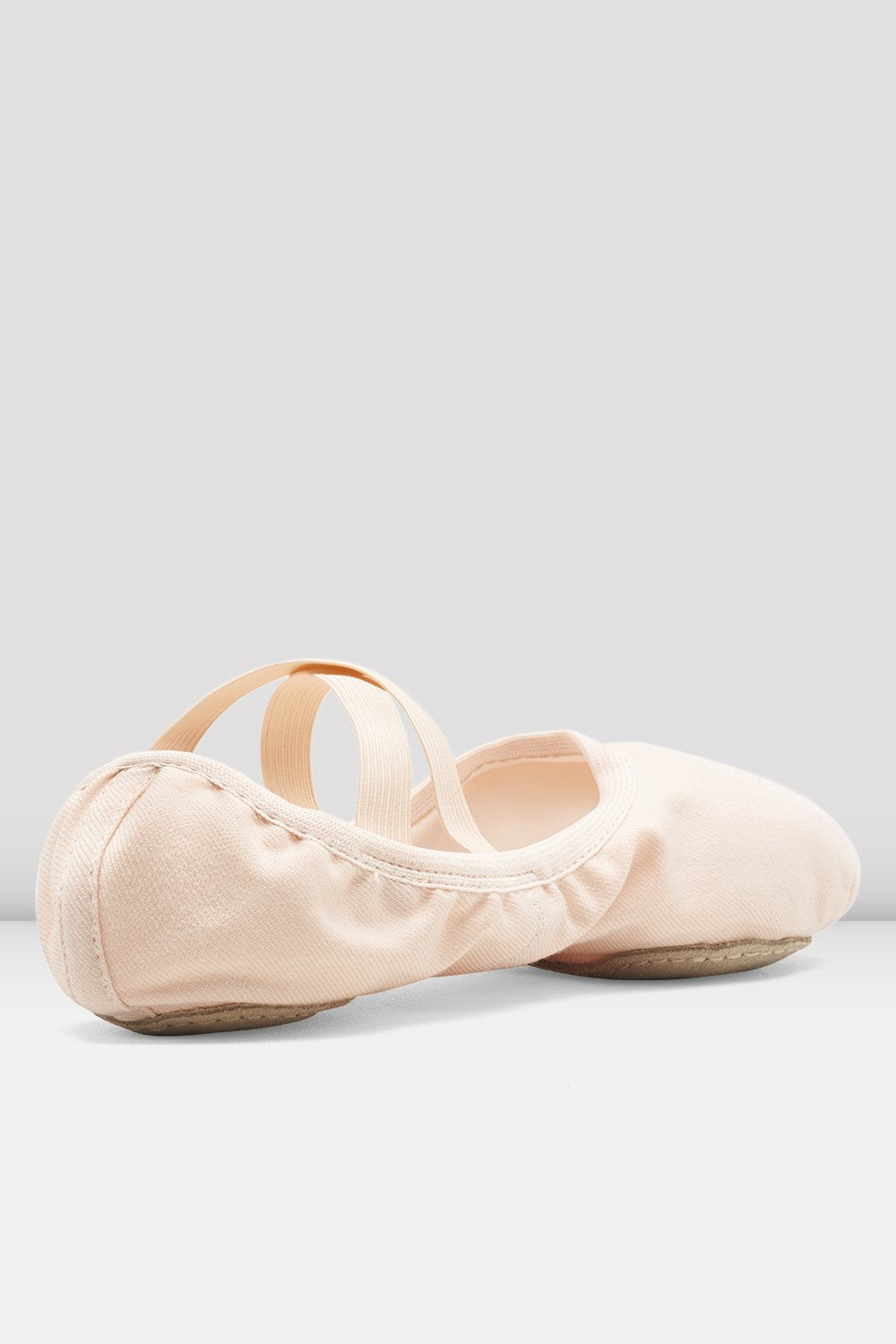 Theatrical pink canvas Bloch Ladies Performa Stretch Canvas Ballet Shoes single shoe side view focus on heel of shoe