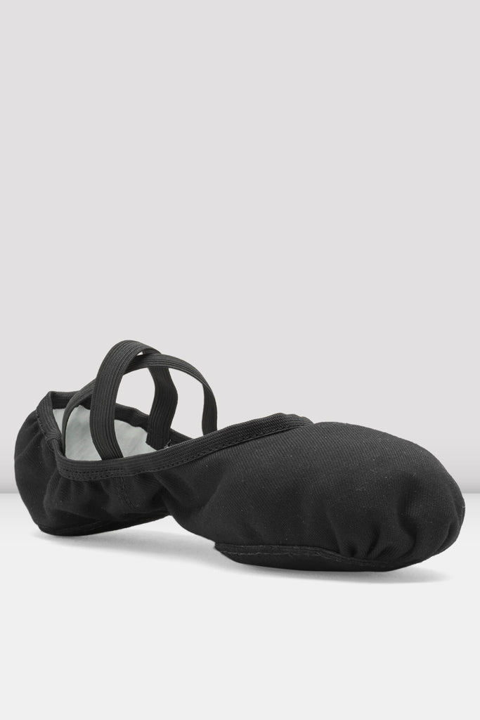 Black canvas Bloch Mens Performa Stretch Canvas Ballet Shoes single shoe side view focus on toe of shoe