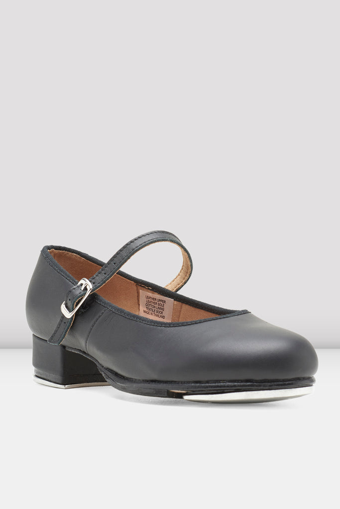 Black leather Bloch Ladies Tap-On Leather Tap Shoes single shoe side view focus on toe of shoe