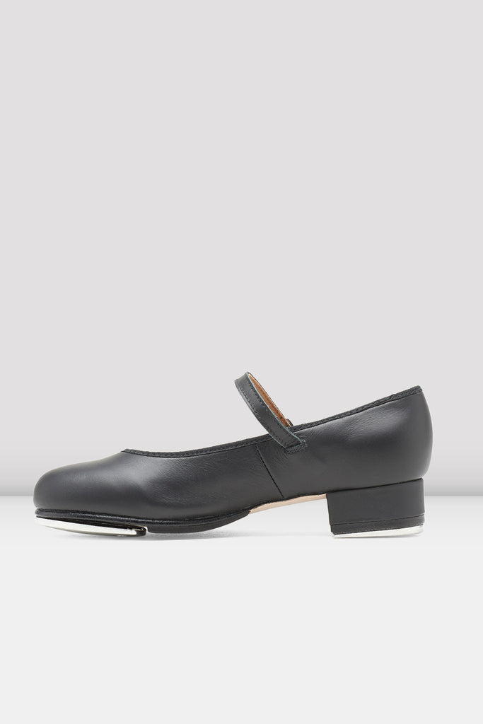 Black leather Bloch Ladies Tap-On Leather Tap Shoes single shoe side view
