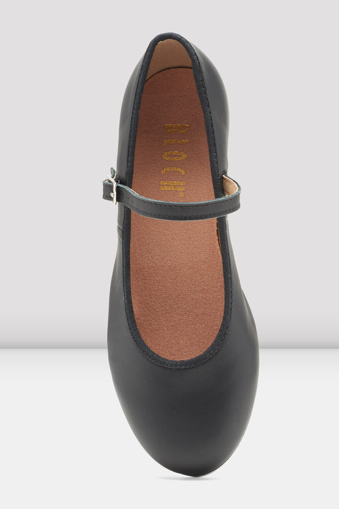 Black leather Bloch Ladies Tap-On Leather Tap Shoes single shoe focus on top of shoe
