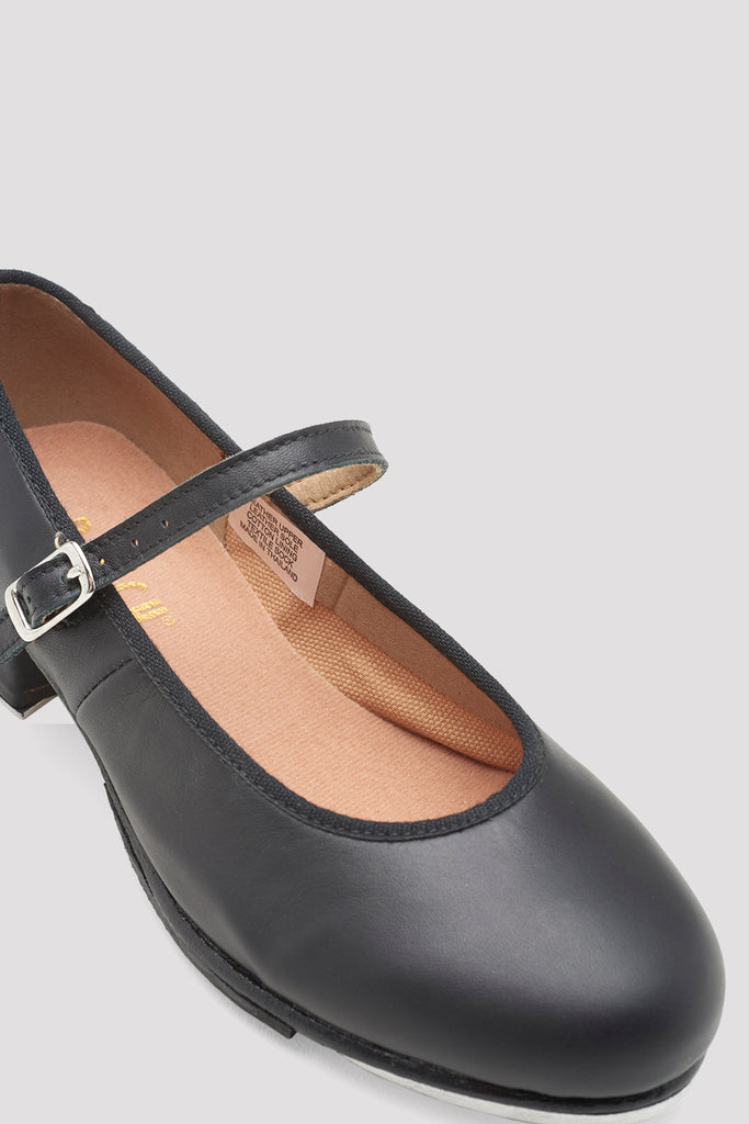 Black leather Bloch Ladies Tap-On Leather Tap Shoes single shoe side view focus on toe of shoe zoomed