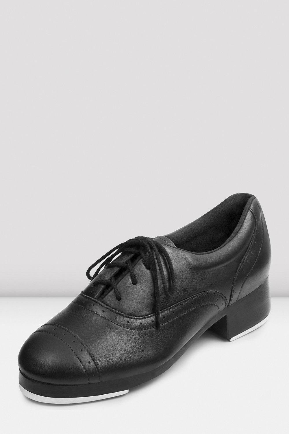 Black leather Bloch Ladies Jason Samuels Smith Tap Shoes single shoe side view focus on toe of shoe
