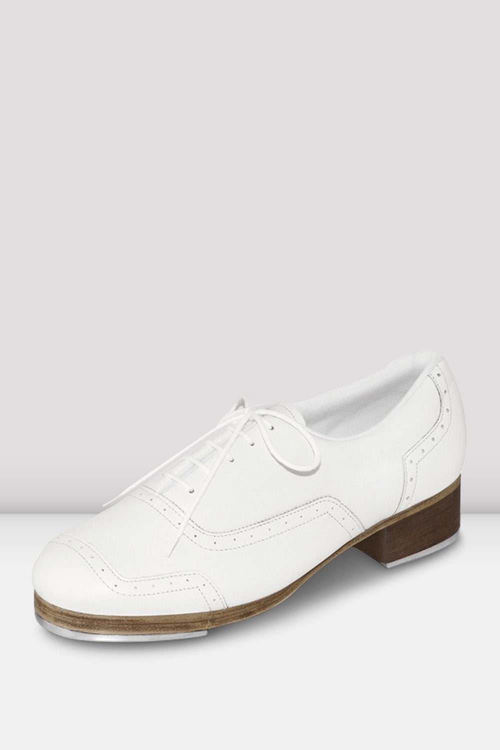 White leather Bloch Ladies Jason Samuels Smith Tap Shoes single shoe side view focus on toe of shoe