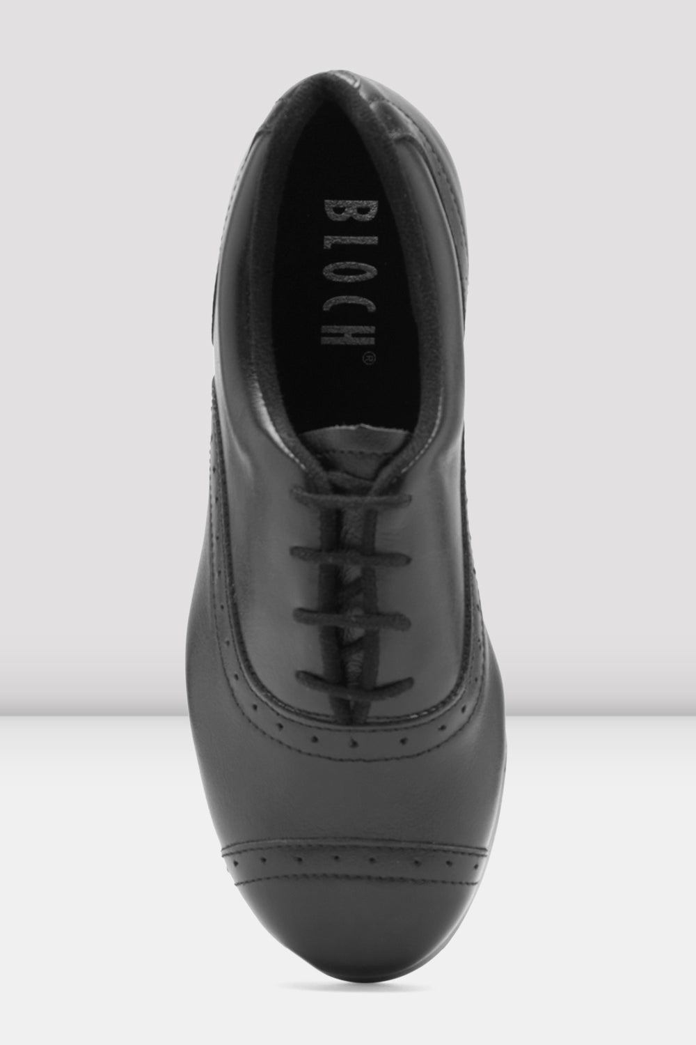 Black leather Bloch Ladies Jason Samuels Smith Tap Shoes single shoe  focus on top of shoe