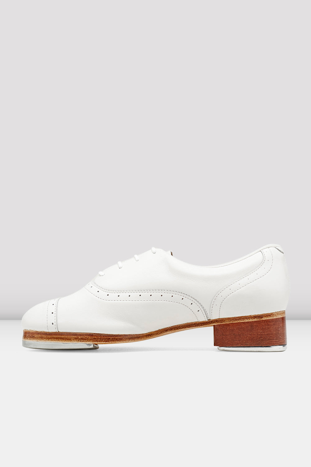 White leather Bloch Ladies Jason Samuels Smith Tap Shoes single shoe side view