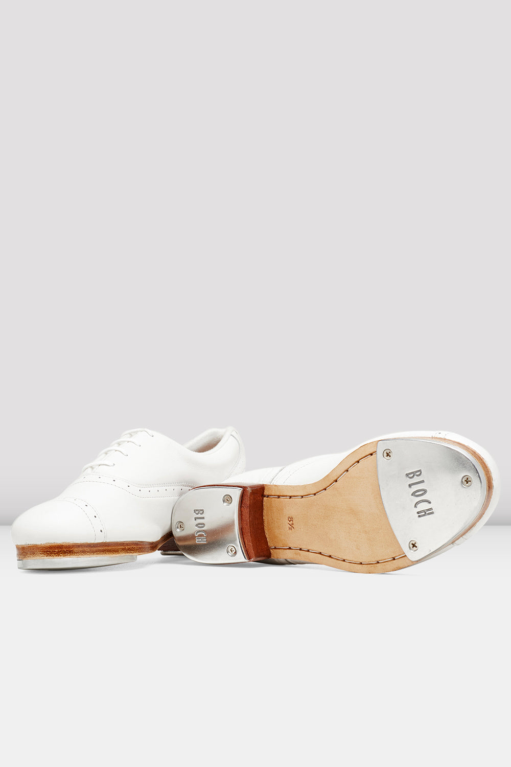 White leather Bloch Ladies Jason Samuels Smith Tap Shoes pair of shoes view of top and bottom of shoe