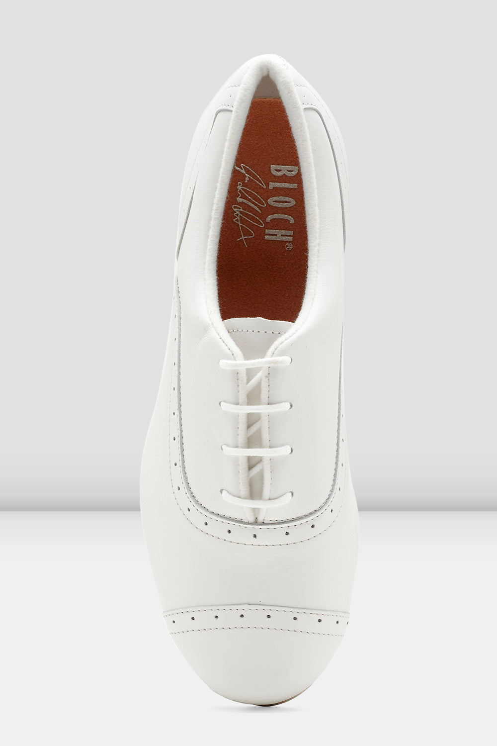 White leather Bloch Ladies Jason Samuels Smith Tap Shoes single shoe  focus on top of shoe
