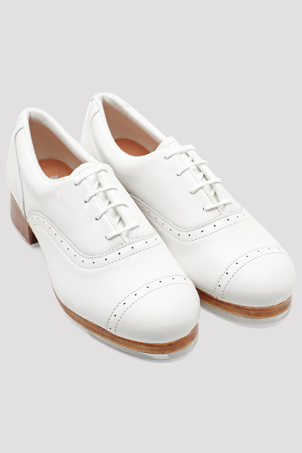 White leather Bloch Ladies Jason Samuels Smith Tap Shoes pair of shoes flatlay