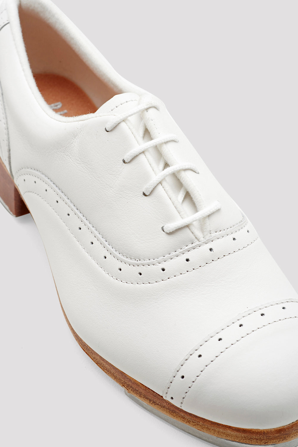 White leather Bloch Ladies Jason Samuels Smith Tap Shoes single shoe  focus on shoe laces
