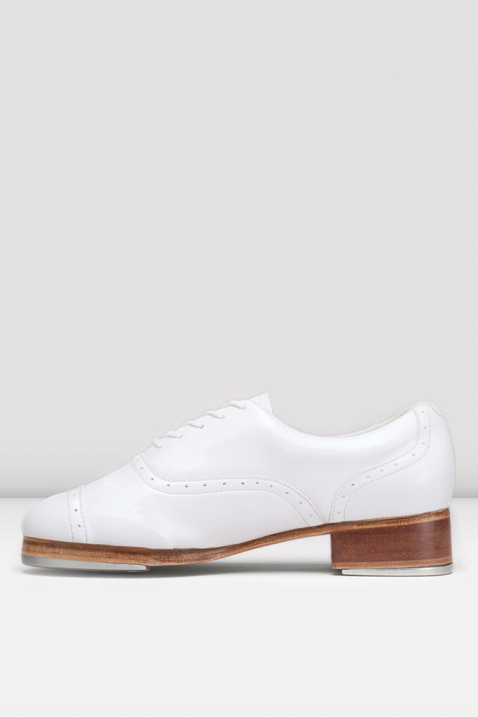 White patent Bloch Ladies Jason Samuels Smith Tap Shoes single shoe side view