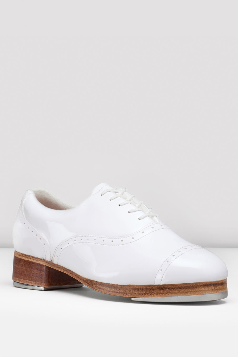 White patent Bloch Ladies Jason Samuels Smith Tap Shoes single shoe side view focus on toe of shoe