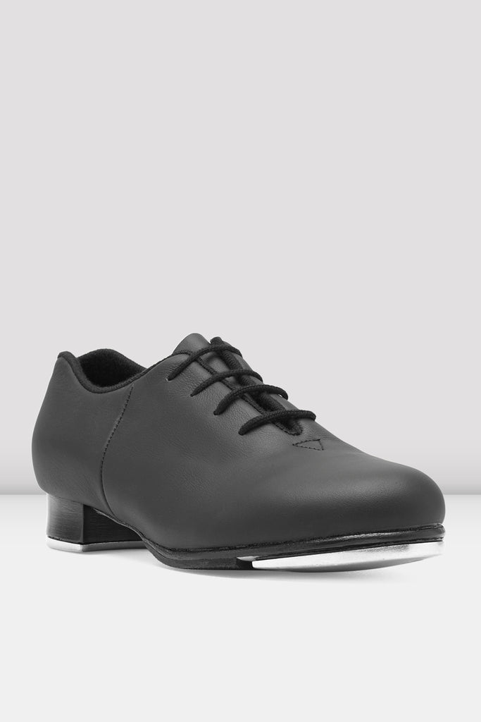 Black leather Bloch Ladies Audeo Jazz Tap Leather Tap Shoes single shoe side view focus on toe of shoe