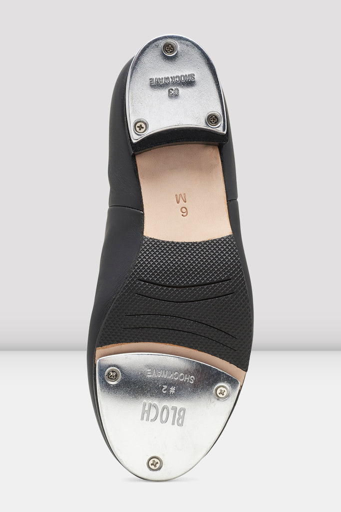 Black leather Bloch Ladies Audeo Jazz Tap Leather Tap Shoes single shoe side view focus on sole of shoe