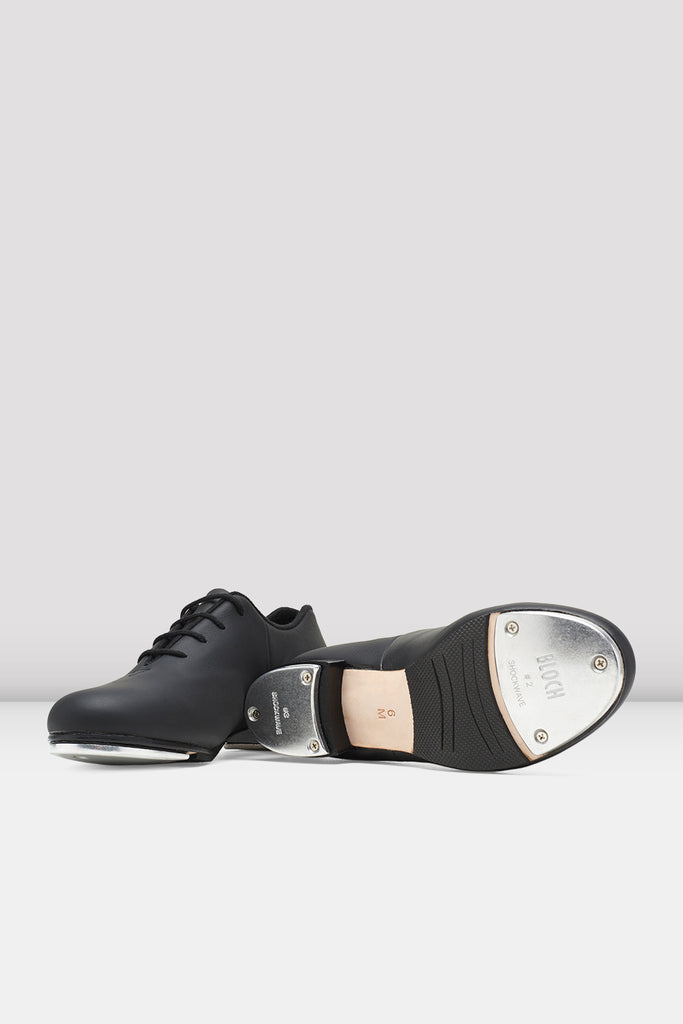 Black leather Bloch Ladies Audeo Jazz Tap Leather Tap Shoes pair of shoes view of top and bottom of shoe
