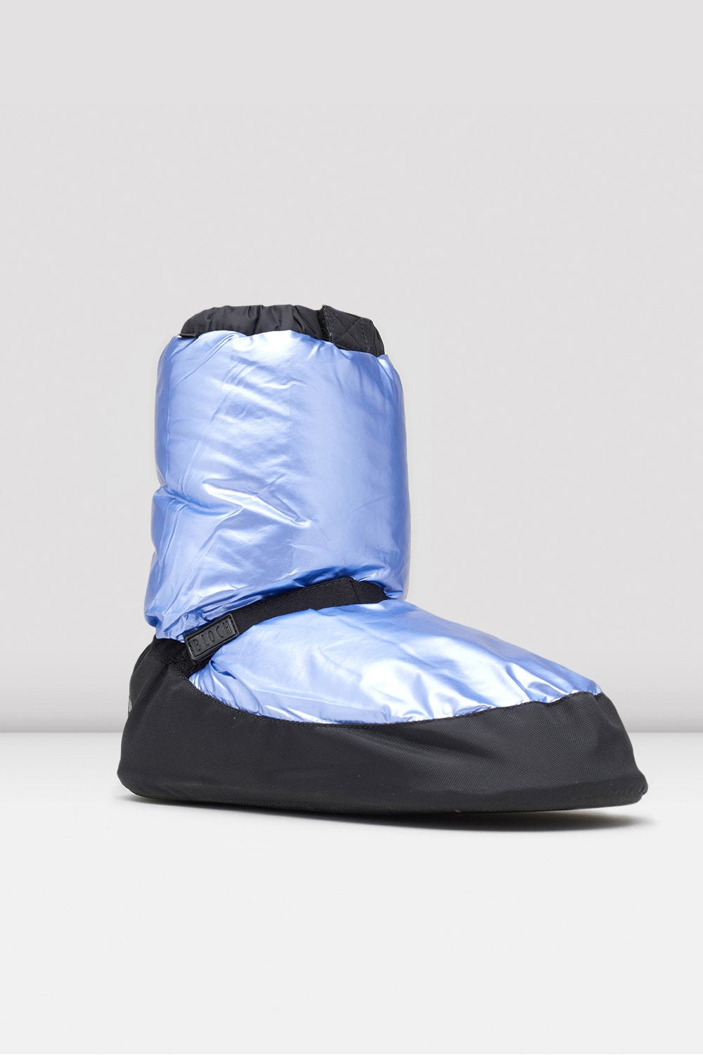Light Blue Metallic Metallic Warm Up Booties single shoe side view focus on toe of shoe