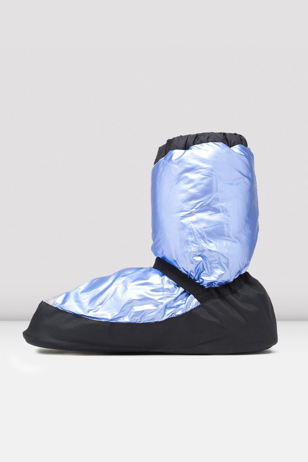 Light Blue Metallic Metallic Warm Up Booties single shoe side view