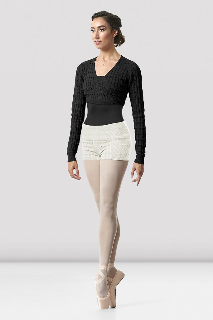 Ladies Venetia Wrap Knit Warm-up Top - BLOCH US