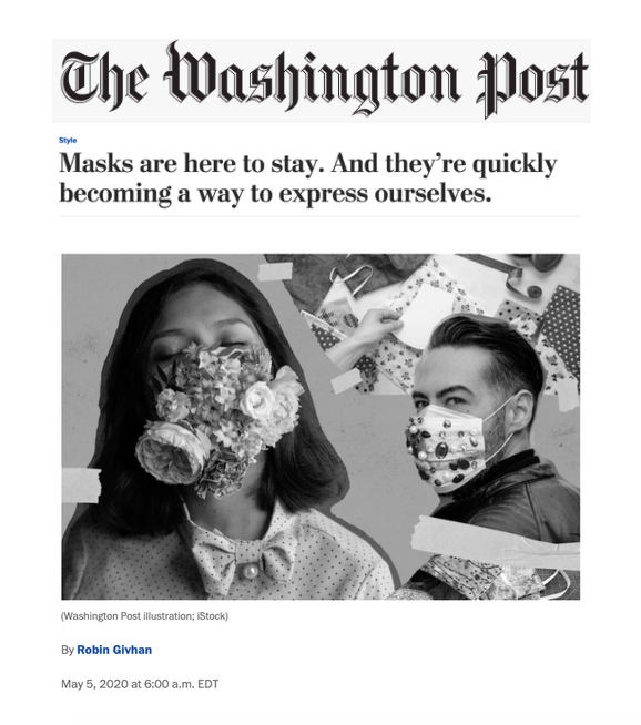 Who's Making?: Christian Siriano using FGFH mask pattern from The Washington Post