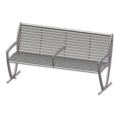 6' Augusta Bench With Back - Side and Centre Armrests - Horizontal Slat - PC