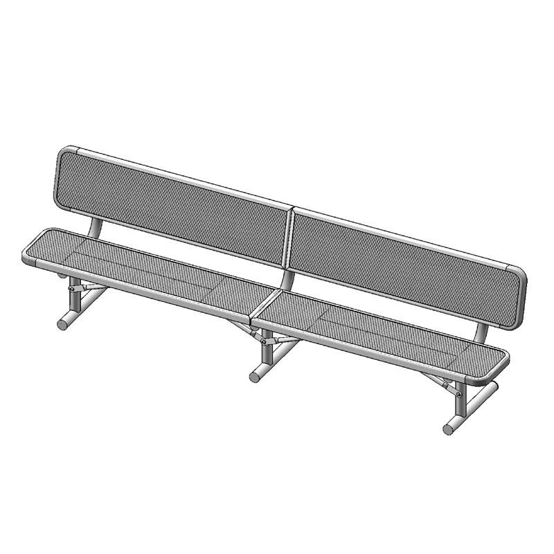 "10' Deluxe Bench With Back, 2""x15"" Planks, Portable (940)"