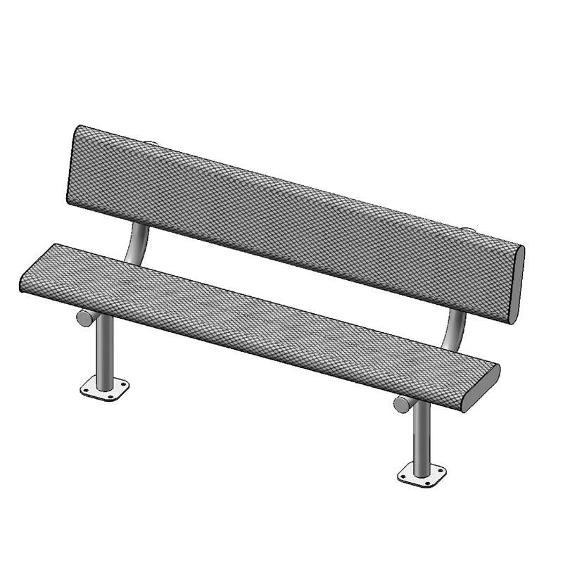 "6' Bench With Back, 2""x12"" Planks, Surface Mount (940)"