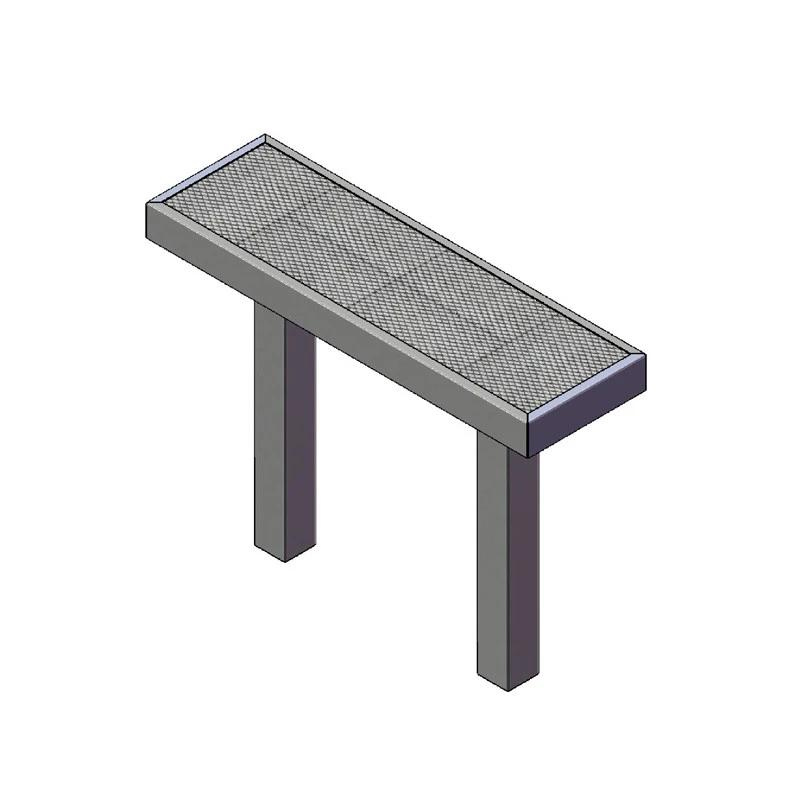4' Mall Bench Without Back, Inground (932)