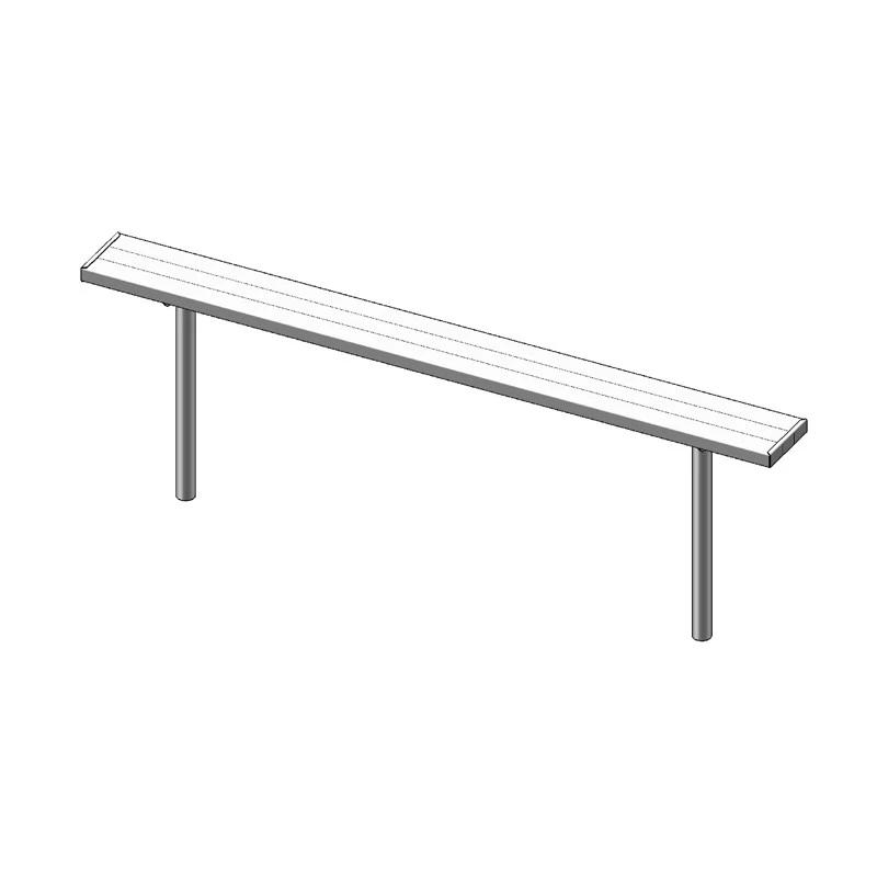 "8' Park Bench Without Back, 2""x10"", Inground, Aluminium (942)"