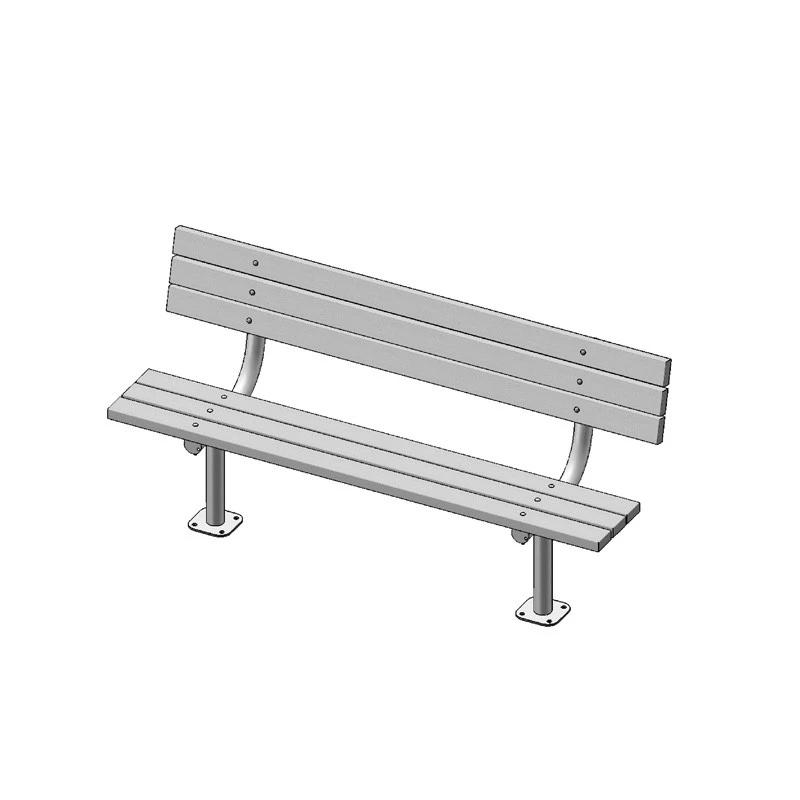 "6' Park Bench With Back, 2""x4"" Planks, Surface Mount (940)"