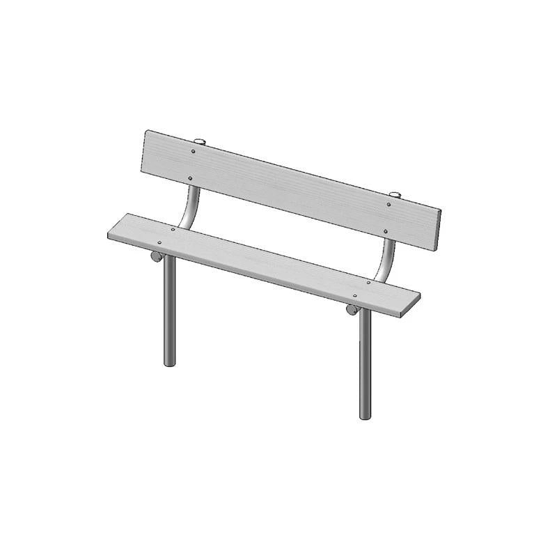 "6' Park Bench With Back, 2""x10"" Planks, Inground (940)"