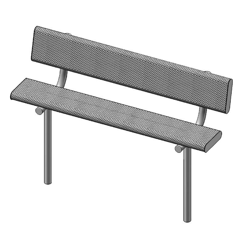 "6' Bench With Back, 2""x12"" Planks, Inground (940)"