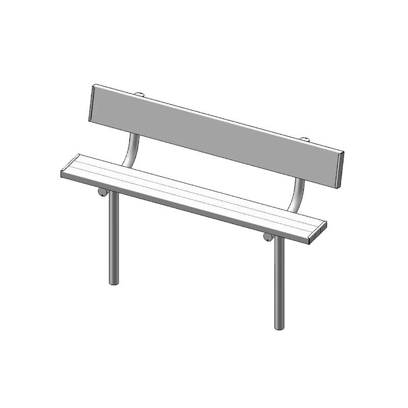 "6' Park Bench With Back, 2""x10"" Planks, Inground, Aluminium (940)"