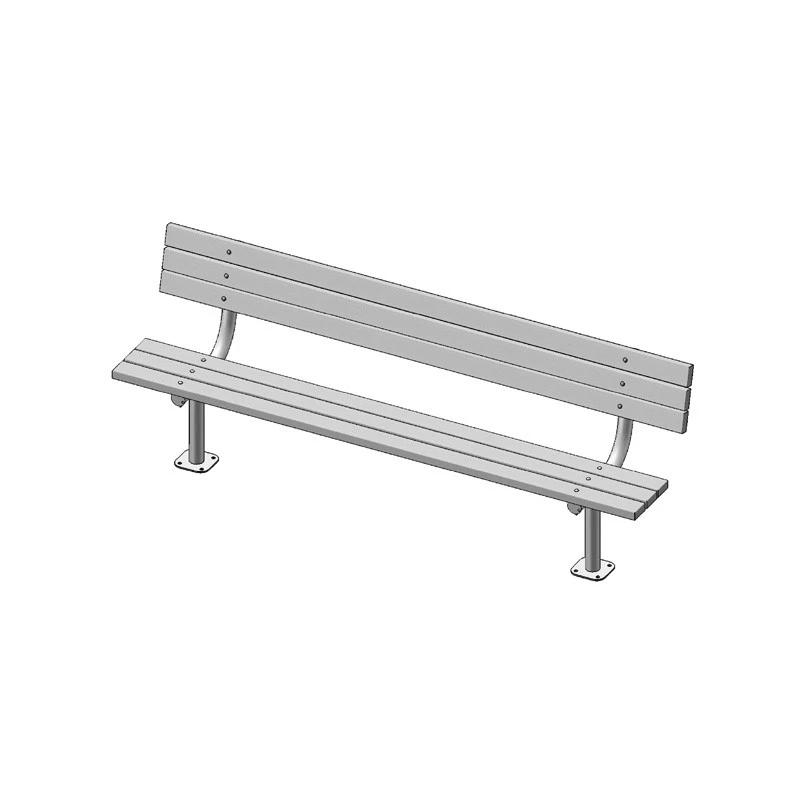 "8' Park Bench With Back, 2""x4"" Planks, Surface Mount (940)"