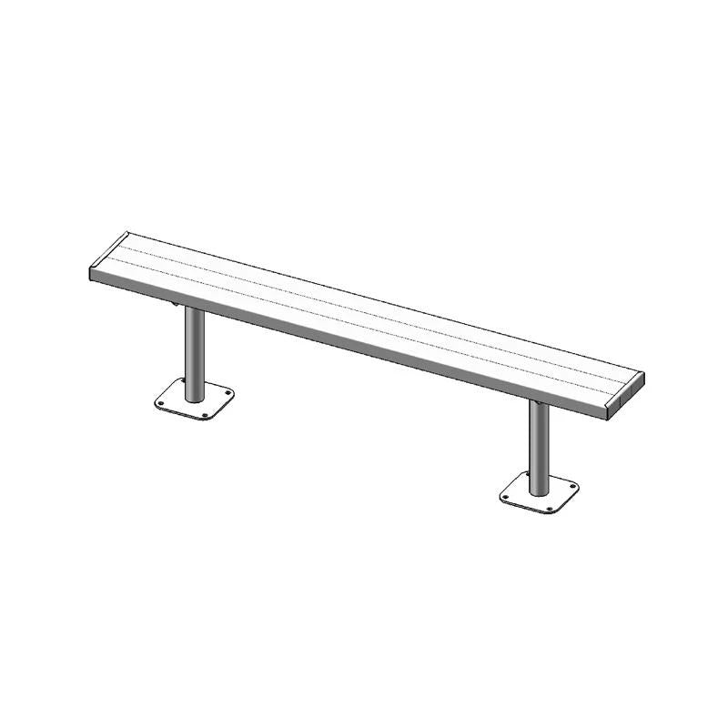 "6' Park Bench Without Back, 2""x10"", Surface Mount, Aluminium (942)"